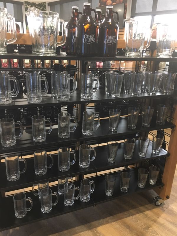 Glass mugs, pitchers, and growlers with HGO logos
