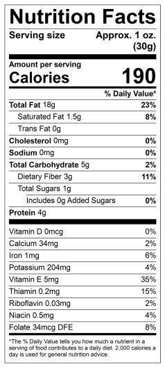 Raw Hazelnut Nutritional Facts Only